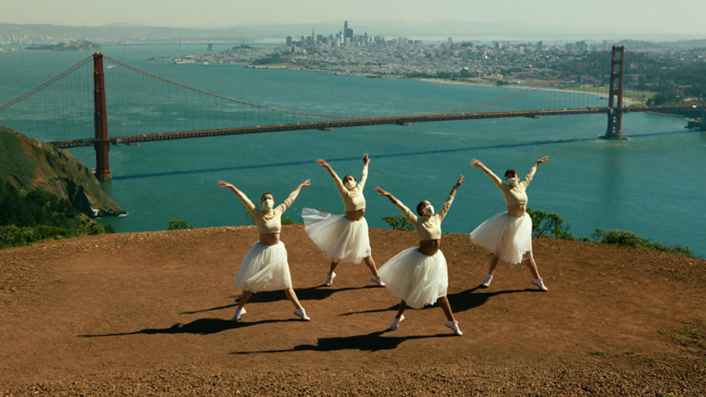 Post-ballet Swan Lake Four Swans film still